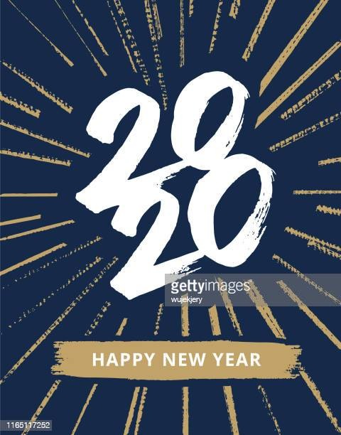 stockillustraties, clipart, cartoons en iconen met hand getekende nieuwjaarskaart 2020 met vuurwerk - nieuwjaar