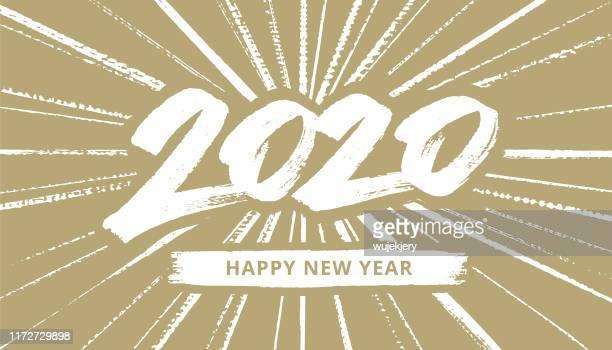 handgezeichnete neujahrskarte 2020 mit feuerwerk - kalligraphieren stock-grafiken, -clipart, -cartoons und -symbole
