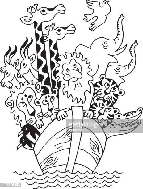 手描きノアの箱舟に動物 - ノアの方舟点のイラスト素材/クリップアート素材/マンガ素材/アイコン素材