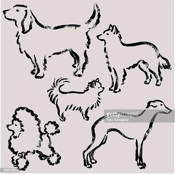 hand-drawn of puppy's illustration - golden retriever stock illustrations, clip art, cartoons, & icons