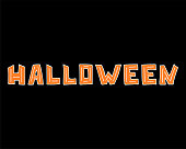 Hand-drawn orange unique lettering for Halloween on the black background.