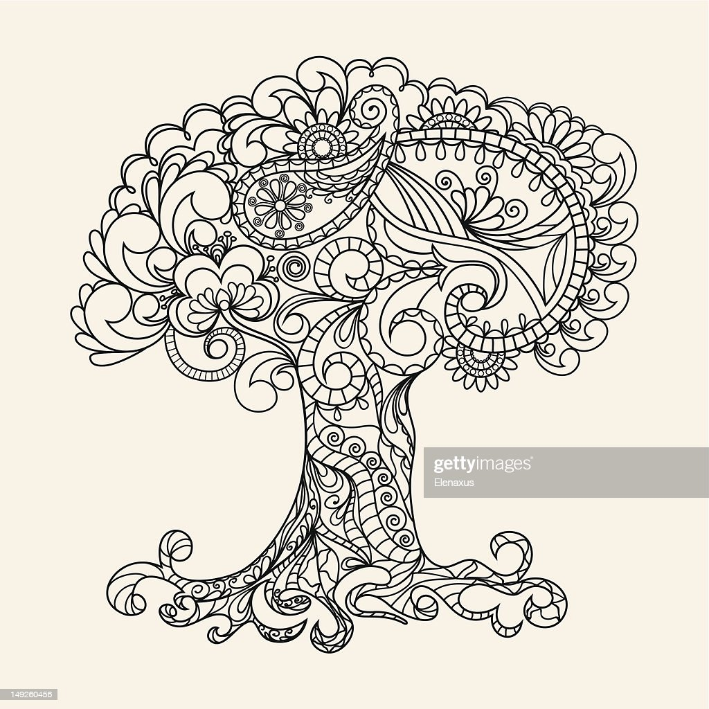 Hand-Drawn Ornate Tree Doodle Vector Illustration