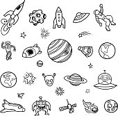 Hand-drawn Outer Space Doodles