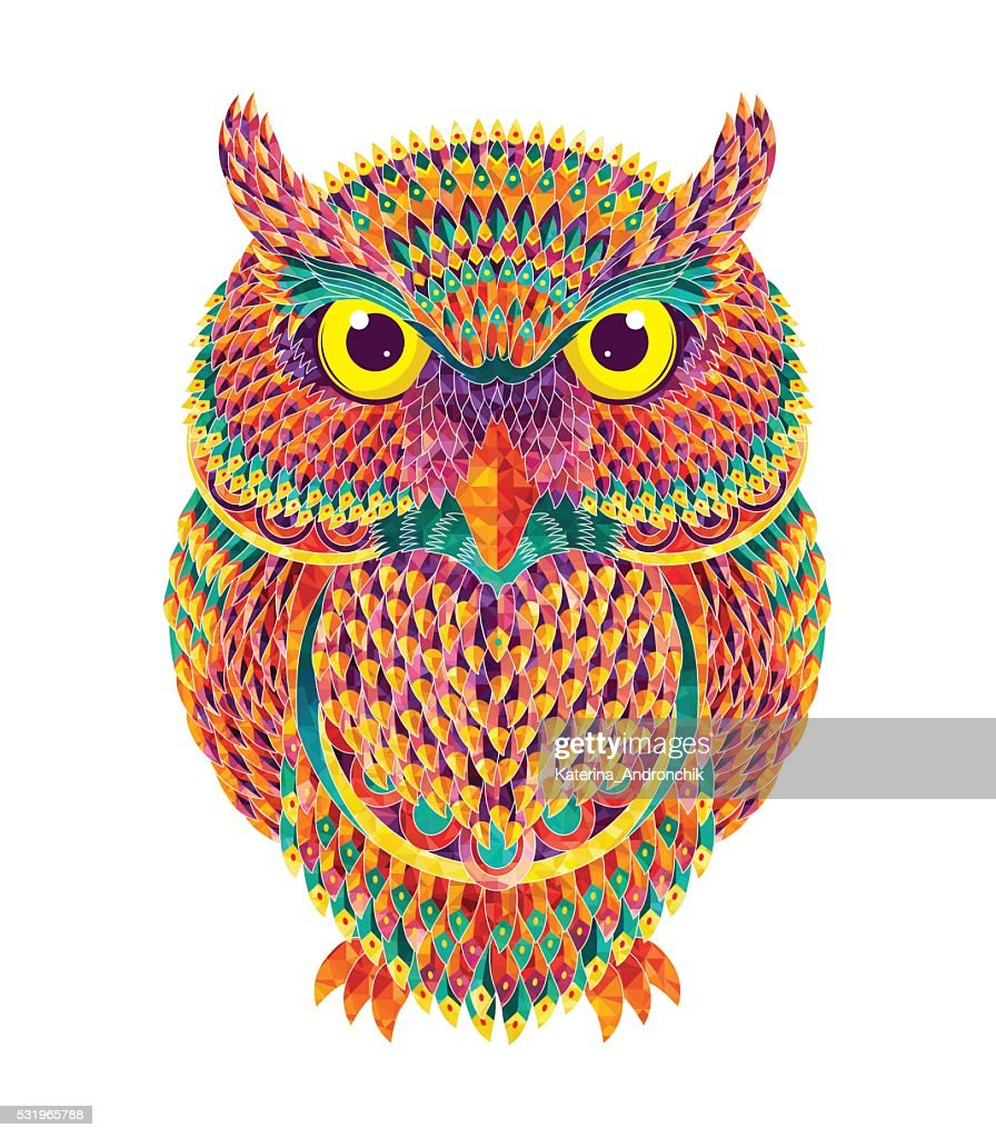 Hand-drawn owl. Vector illustration
