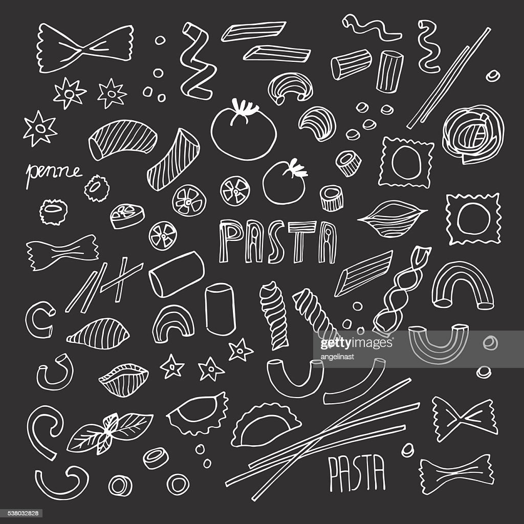 Hand-drawn Pasta doodles set on a chalkboard. Vector Illustration