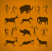 Hand-drawn pattern of cave drawings. ancient petroglyphs