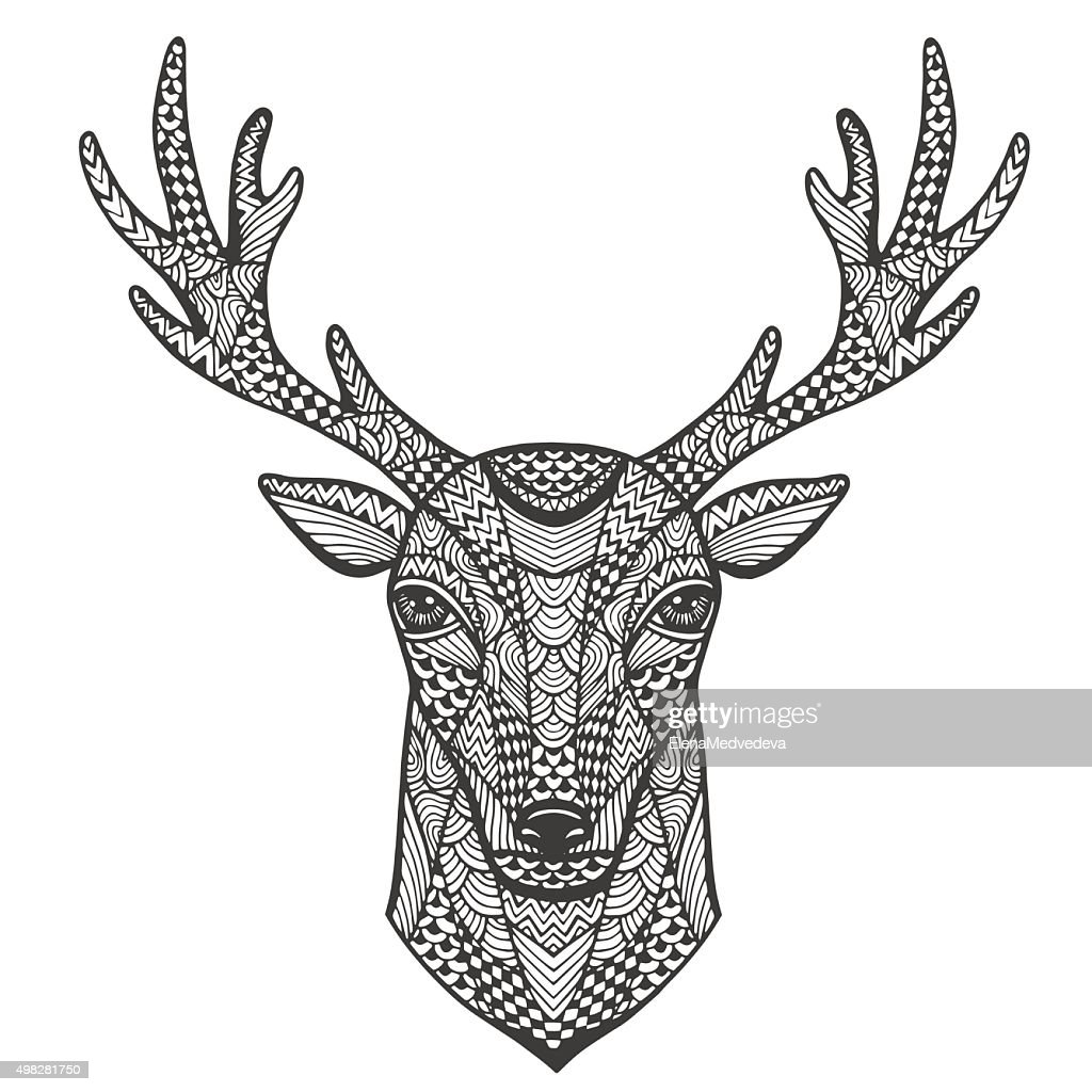 Hand-drawn portrait of a deer in the style of Zen art.