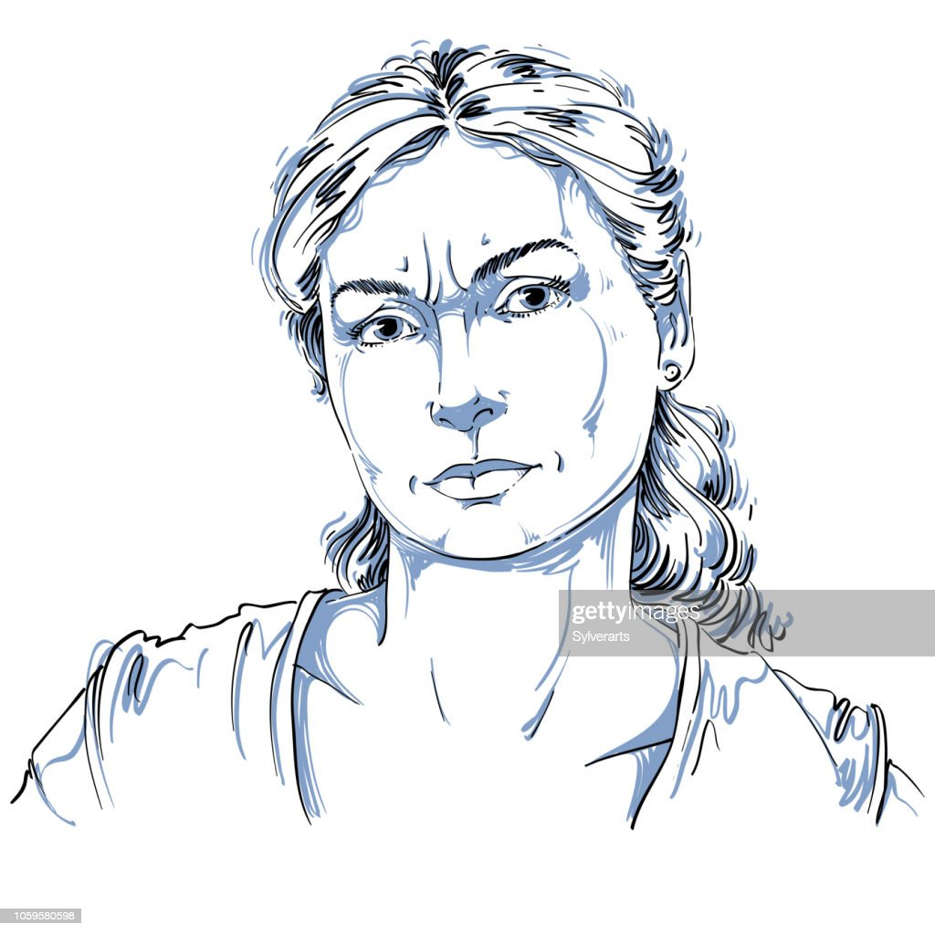 Hand-drawn portrait of white-skin doubtful woman, face emotions theme illustration. Skeptic or angry lady with wrinkles on her forehead posing on white background.