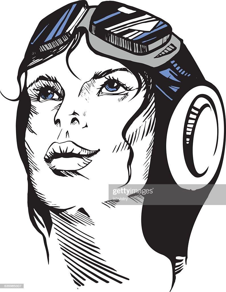 Hand-drawn retro female portrait of a pilot. : Vector Art