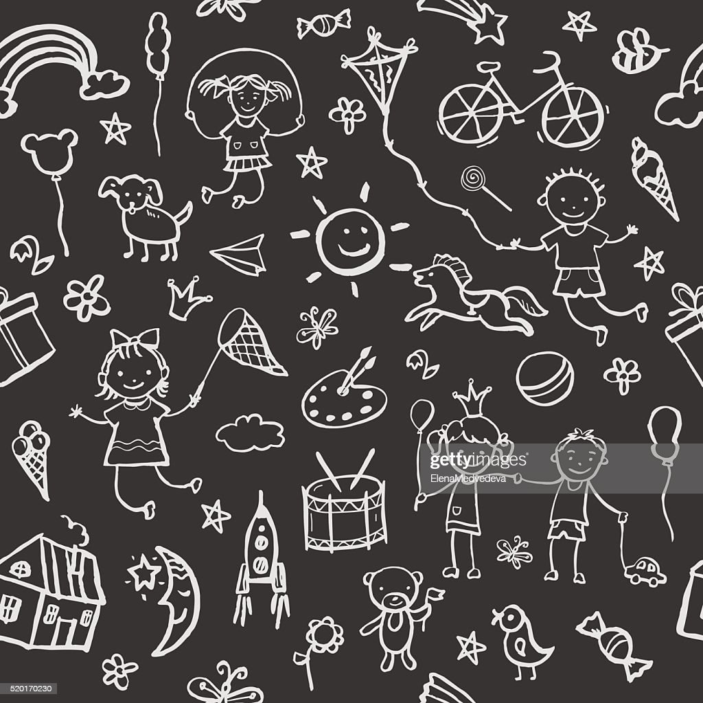 Hand-drawn sketch in the style seamless pattern.