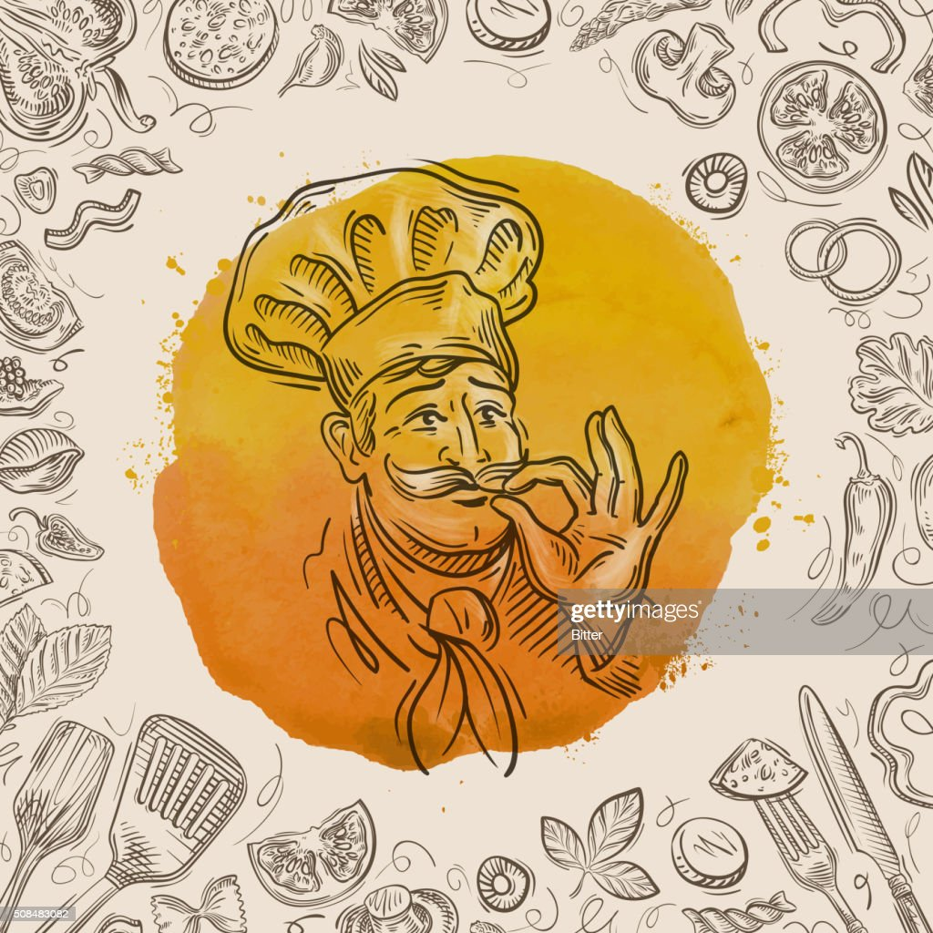 hand-drawn sketch of a happy chef and the food