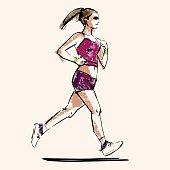 handdrawn sketch of running woman