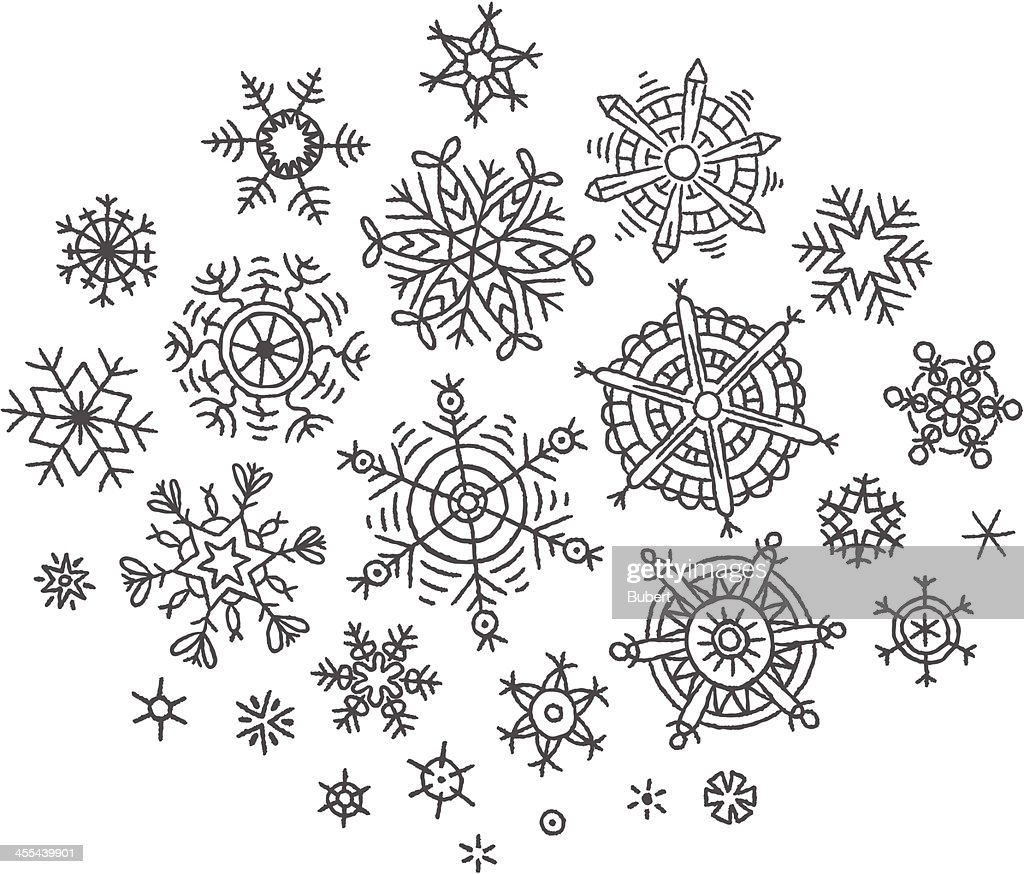 Hand-drawn snowflakes