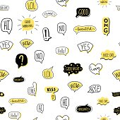 Hand-drawn speech bubble seamless pattern. Vector illustration, isolated on white.