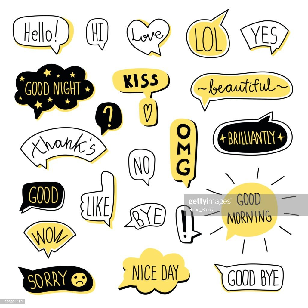 Hand-drawn speech bubble set. Vector illustration, isolated on white.
