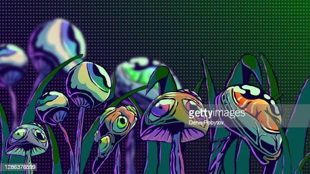 hand-drawn surreal illustration - mushrooms with eyes. - surrealism stock illustrations