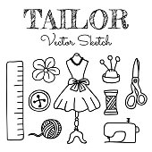 Hand-drawn Tailor Elements