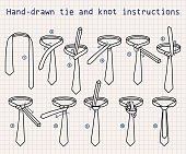 Hand-drawn tie and knot instructions