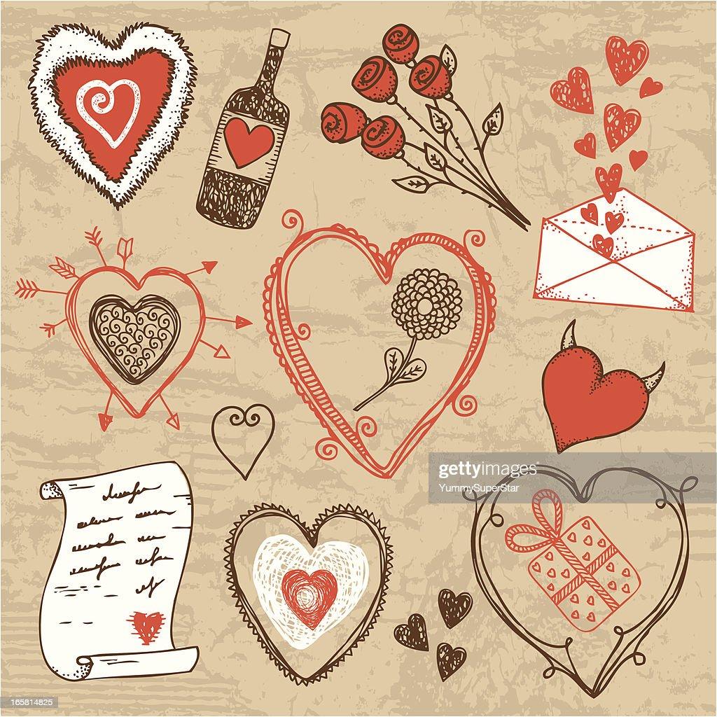 Hand-drawn Valentine`s day set