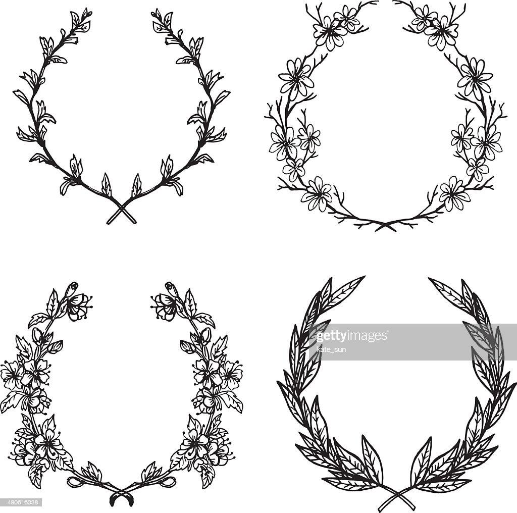 Hand-drawn vector illustration. Floral collection of laurels