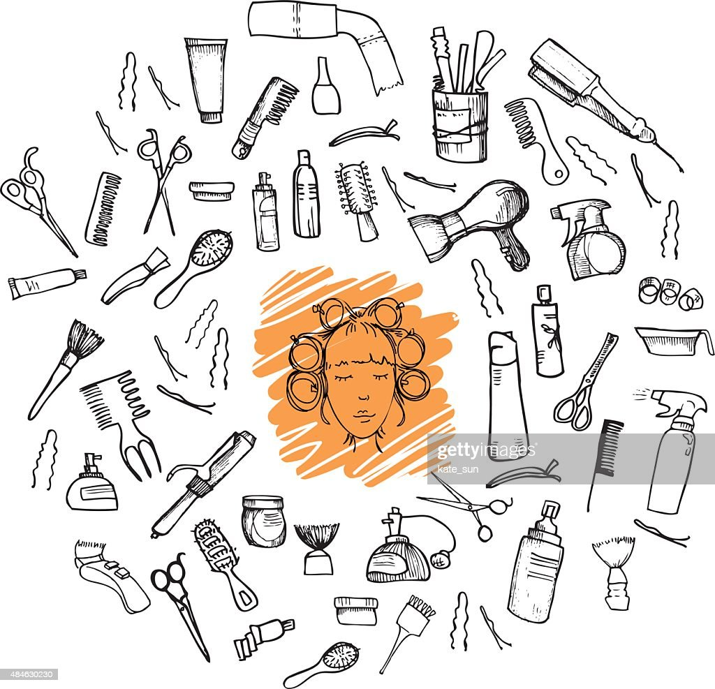 Hand-drawn vector illustration. Mega set - Hairdressing tools