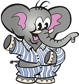 Hand-drawn Vector illustration of an Happy Baby Elephant in Pajamas