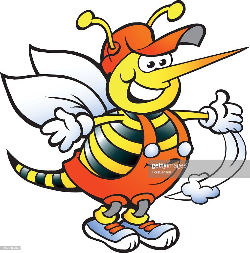 Hand-drawn Vector illustration of an Happy Handyman Bee