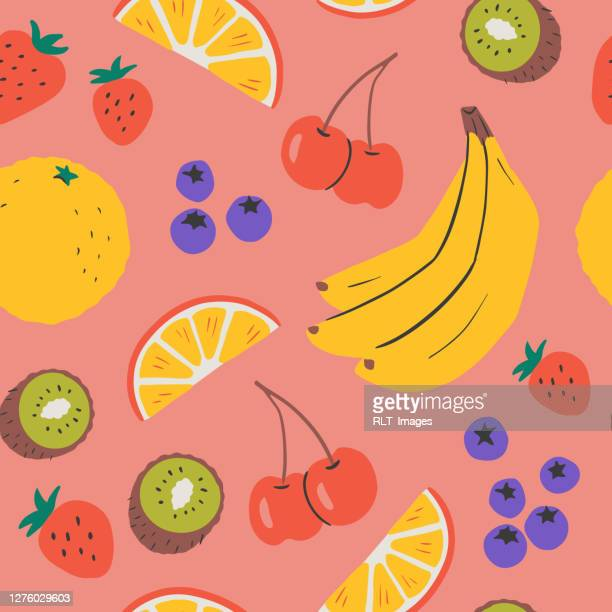 hand-drawn vector seamless repeat pattern of fresh fruit - fruit stock illustrations