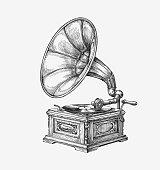 Hand-drawn vintage gramophone. Sketch music. Vector illustration