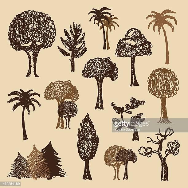 hand-drawn vintage style trees set - tree trunk stock illustrations, clip art, cartoons, & icons
