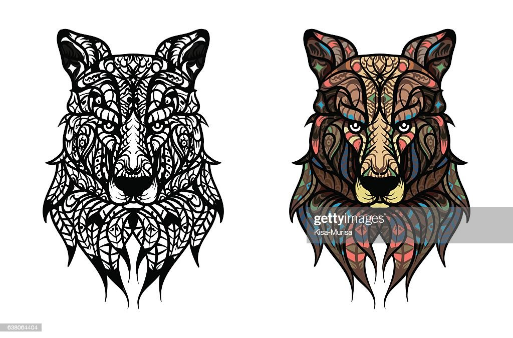 Hand Drawn Wolf Head With Ethnic Doodle Pattern Coloring Book Vector Art
