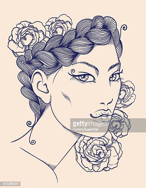 hand-drawn woman face - braided hair stock illustrations, clip art, cartoons, & icons