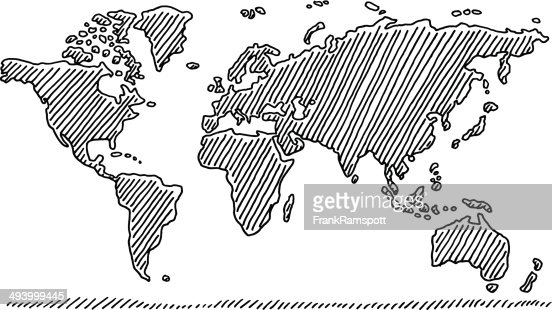Drawing A World Map. Keywords Handdrawn Map Europe In Black Drawing Vector Art  Getty Images