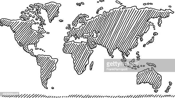 Hand-drawn world map in black