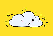 Hand-drawn youth cute Vector Hand-painted smiling cloud, stars