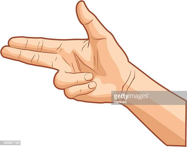 handgun hand gesture - human body part stock illustrations