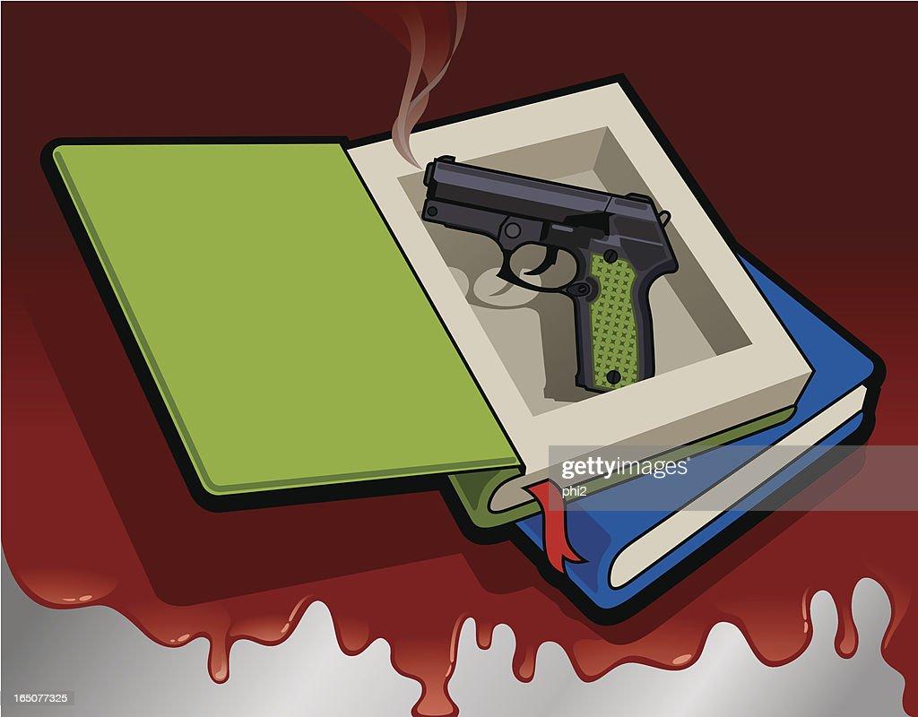 Handgun Hid in A Thick Novel Book Vector