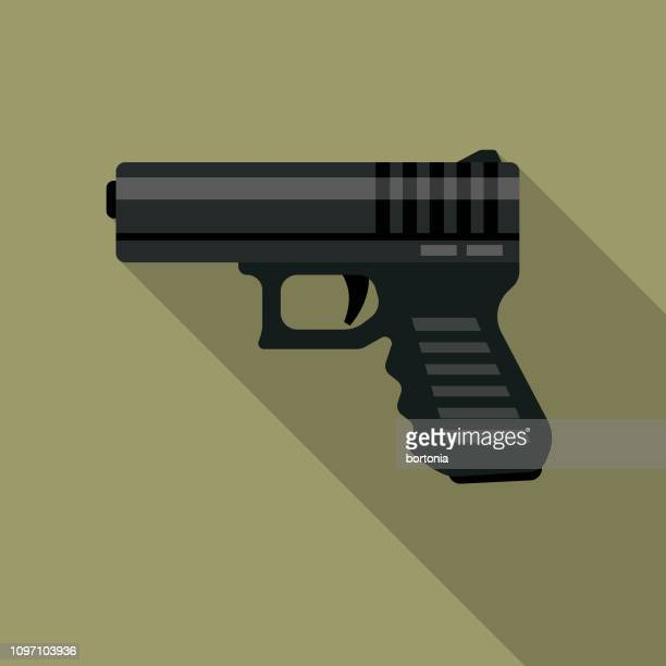 handgun military icon - handgun stock illustrations