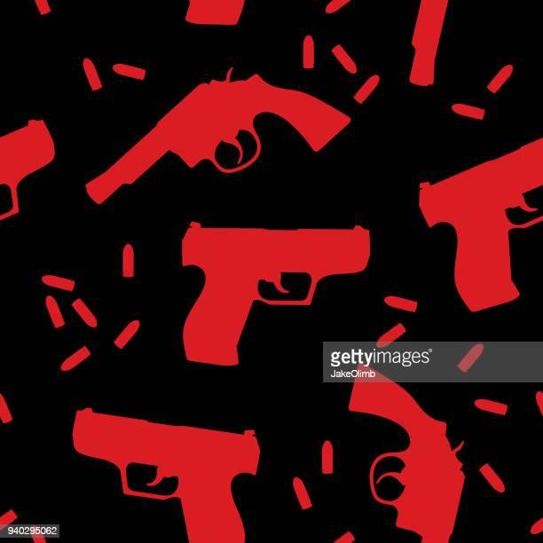 ilustrações de stock, clip art, desenhos animados e ícones de handgun silhouettes pattern - armadefogo