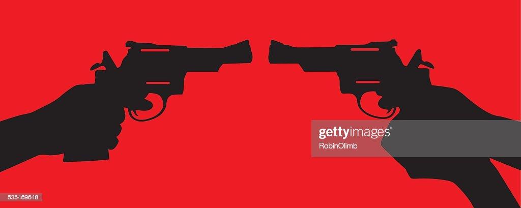 Handgun Standoff : stock illustration