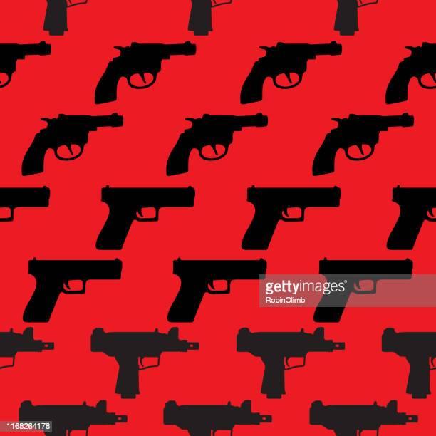 ilustrações de stock, clip art, desenhos animados e ícones de handguns seamless pattern - armadefogo
