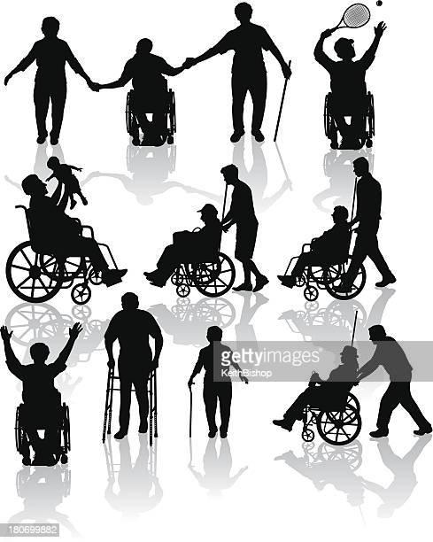 handicap and elderly senior adults - paralysis stock illustrations, clip art, cartoons, & icons