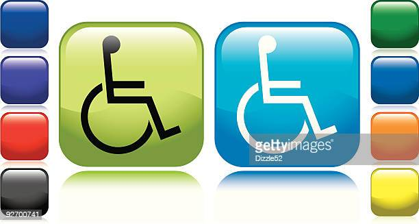 handicap icon - paralysis stock illustrations, clip art, cartoons, & icons