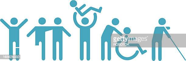 handicap icons - physical disability stock illustrations, clip art, cartoons, & icons