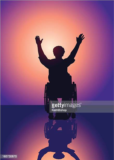 handicap man with arms raised in victory background - paralysis stock illustrations, clip art, cartoons, & icons