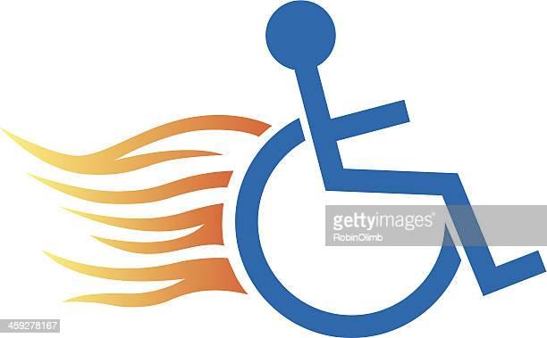 handicap racer icon - paralysis stock illustrations, clip art, cartoons, & icons