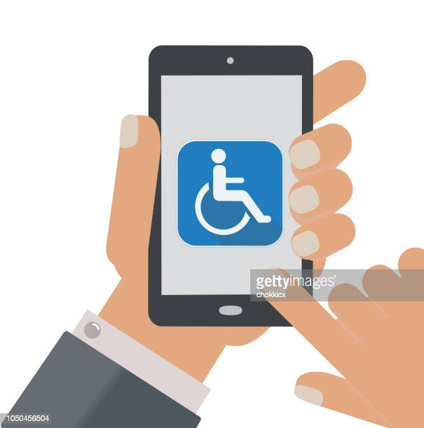 handicapped app - disabled access stock illustrations, clip art, cartoons, & icons