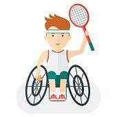 Handicapped athlete tennis player