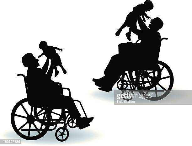 handicapped father and grandfather with child - paralysis stock illustrations, clip art, cartoons, & icons
