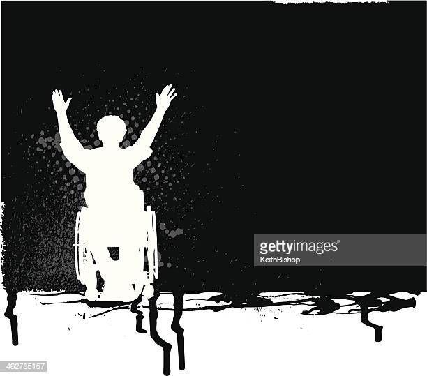 handicapped person raising hands in victory - grunge background - paralysis stock illustrations, clip art, cartoons, & icons